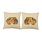 Store51 LLC - Painted Elephants Throw Pillow Covers 16x16 Natural Shams - FEATURES: