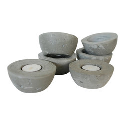 Anson Design CO - Set of 3 Concrete Candleholders - Organic Home Decor, Natural - This romantic trio of candles holders are sure to help you relax and unwind. Place in the bedroom or bath to create ambiance or use as an attractive centerpiece.