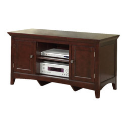 Adarn Inc - New High Level Double Shelf Two Side Doors Wood Entertainment TV Stand Console - Merge classic home living with a TV stand to display all of your entertainment accessories.  This high level stand features a double shelf with two vertical doors on each side.