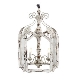 Kathy Kuo Home - Amelie White Wash Shabby Chic Country Lantern Pendant - Return to the French countryside with this impressive vintage light fixture. Distressed white finish gives the impression of years of use. The soft light cast by four electrified candles will compliment the delicacy of this shabby chic chandelier.