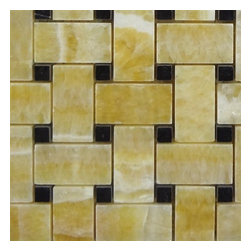 """Marbleville - Honey Onyx 1"""" x 2"""" Basketweave Pattern Polished with 3/8 Black Dot Insert Finish - Premium Grade Honey Onyx 1"""" x 2"""" Basketweave Pattern with 3/8 Black Dot Insert Polished Mesh-Mounted Marble Mosaic is a splendid Tile to add to your decor. Its aesthetically pleasing look can add great value to the any ambience. This Mosaic Tile is constructed from durable, selected natural stone Marble material. The tile is manufactured to a high standard, each tile is hand selected to ensure quality. It is perfect for any interior/exterior projects such as kitchen backsplash, bathroom flooring, shower surround, countertop, dining room, entryway, corridor, balcony, spa, pool, fountain, etc."""