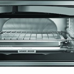 "Applica - BD 4 Slice Toaster Oven - Black & Decker Exclusive Even Toast Technology Toasts bread up to 30% more evenly vs. leading competitors - 4 slice / 9"" Pizza Cooking Capacity  Toast  Broil and Bake  & Keep-Warm Controls  Power Indicator Light  Bake Pan and Broil Rack Included  Stainless Steel Accents and Removable Crumb Tray  This item cannot be shipped to APO/FPO addresses. Please accept our apologies."