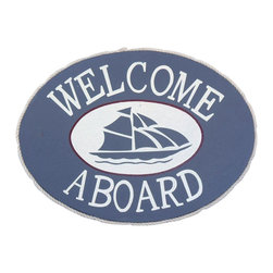 "Handcrafted Model Ships - Wooden Welcome Aboard Sailboat Beach Sign 12"" - Antique Beach Sign - Our Wooden Welcome Aboard Sailboat Beach Sign 12"" is the perfect choice to display your affinity for decorating a beach house. Place this sign in a beach kitchen, use as a coastal decorating idea, or hang this up as part of your beach bedroom decor. Given all the options, one thing is for certain, you are sure to inject the beach lifestyle into your humble abode."