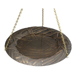 """Dragonfly Hanging Birdbath - A deceptively complex design, these overlapping dragonflies create a texture that immediately draws the attention of a passer-by. Useful as both a charming decoration and a way to draw the nearby wildlife, it comes in three finishes and is suspended from a 24"""" chain."""