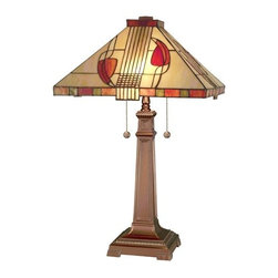Dale Tiffany - Dale Tiffany 2721/739 Henderson Tiffany Glass Table Lamp from the Mission Collec - Henderson Tiffany Glass Table Lamp from the Mission CollectionFeatures:
