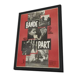 Band of Outsiders 11 x 17 Movie Poster - French Style A - in Deluxe Wood Frame - Band of Outsiders 11 x 17 Movie Poster - French Style A - in Deluxe Wood Frame.  Amazing movie poster, comes ready to hang, 11 x 17 inches poster size, and 13 x 19 inches in total size framed. Cast: Georges Rostan