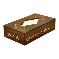 SouvNear - SouvNear Artisan Crafted Wooden Tissue Box Cover with Intricate Brass Inlay-Work - * Handmade in solid rosewood - good for a lifetime.