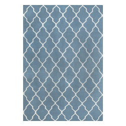 Rugsville - Rugsville Tuscan Trellis Fallon Blue Wool 13656 Rug 2x3 - Rugsville Moroccan Trellis Fallon Blue Wool 13656 Rug is handcrafted from 80% Wool and 20% Cotton. Soft and elegant underfoot, this piece would be perfect for a bedroom or living room.