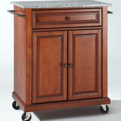 Crosley Furniture - Solid Granite Top Portable Kitchen Cart - 1 Adjustable shelf. 1 Drawer. 2 Beautiful raised panel doors. 2 Towel Bars. 2 Heavy duty locking casters for stability. Solid Granite top. Solid hardwood and veneer construction. Hand rubbed multi-step finish and White finish. Antique Brass hardware. Assembly required. 1-Year manufacturer's warranty. 28.25 in. L x 18 in. W x 36 in. H (135.3 lbs.)