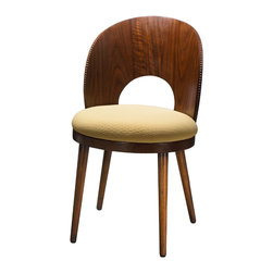French Heritage - Dian Side Chair, Walnut Finish - A little curvy and a little leggy, the Cosmopolitan chair evokes mid-century fascination with aerodynamic form. Detailing on chair backs provides a touch of ethnic style. - Weight: 33lbs