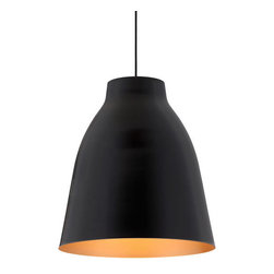 ZUO PURE - Bronze Ceiling Lamp Matte Black - The gradual curve of the Bronze ceiling lamp allows an ample amount of light over any space. One 100w bulb included and the lamp is UL approved.