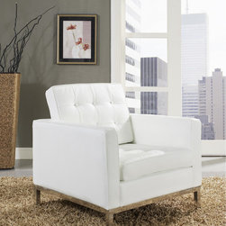 MODERN WHITE LEATHER CLUB CHAIR LOFT - Modern tan leather club chair Loft  club chair boasts a classic, instantly recognizable look that complements the style of any living room. Each aspect of this chair is designed carefully to provide the Modern club chair Loft is the preferred choice for reception areas, living rooms, hotels, resorts, restaurants and other lounge spaces. This comfortable and fashionable club chair boasts a classic, instantly recognizable style that complements the style of any living room.