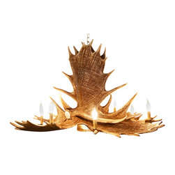 Muskoka Lifestyle Products - Rustic Moose 6 Antler Chandelier- with 9 Candle Lights and 1 Down Light - Our Rustic Moose 6 Antler Chandelier is the best faux antler chandelier available on the market. We have taken our replication process from our other rustic decor items and matched the authentic finish. Real antlers are used to model the reproduction for an exact and comparable result. The process to create the antler chandelier, uses a time proven cast resin system to ensure perfection in every piece. We have hand-stained and antiqued each antler to achieve the exact comparable match to the real antler. Bring the perfect rustic decor to your home, cabin, or office with these antler chandelier reproductions. All antler chandeliers are UL listed to ensure absolute safety, quality, and US building code parameters are met.