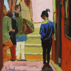 """""""Gallery Opening Queue"""" Artwork - Oil on gallery wrap 1.5"""" canvas with PAINTED SIDES and is ready to hang!  A line/queue formed for a Gallery Opening, persuades an attendee to consider shutting off her cell phone.  Good idea & very considerate.  Original photo by Paris Daily Photo."""