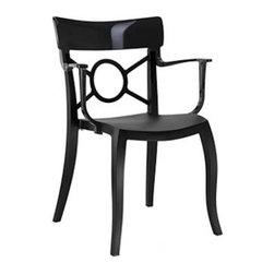 Papatya - O'PERA-K Armchair - Set of 4, Solid Black Frame / Black Back - O'PERA-K Armchair - Set of 4