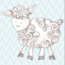 "Doodlefish - Shelby Sheep Blue - Shelby Sheep is an 18"" x 18"" Gallery Wrapped Giclee Print of a mix of graphical elements and a drawing of a fluffy sheep with a curly tail.  Choose the background color and the background pattern to match your child's room,  Add your child's name or even your favorite pet.  This artwork is also available mounted in a painted frame of your choice.    The finished size of the mounted piece is approximately 22""x22""."