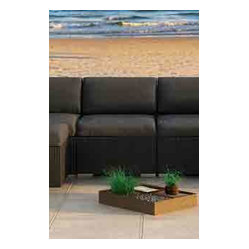 Urbana Modern Outdoor Sectional Middle, Charcoal Cushions