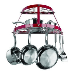 Range Kleen - Hanging Pot Rack - Hanging pot rack. Half-round pot rack. 24 in. W x 11.88 in. D x 12 in. H. Includes complete hardware for easy installation. Cookware not included. Exclusive double shelf design is great for those consumers with little to no space. Great for condos and apartments. Pot rack comes with 8 hooks. Holds up to 30 lbs.. Five year limited household warrantyAdd a splash of delicious cherry red to your kitchen! Pot racks are so hot right now because they are the perfect solution for kitchen decor and storage. Hanging pots and utensils are better organized and easier to access – no more digging through the back of your cupboard. Just think of how useful all of that extra cupboard space will be! This attractive red enamel coated metal pot rack is wall mounted with two shelves and repositionable hooks to stylishly maximize your kitchen space.