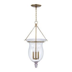 Hudson Valley - 842-AGB Ulster Foyer Lantern, Aged Brass, Clear Mouth Blown Glass - Transitional Foyer Lantern in Aged Brass with Clear Mouth Blown glass from the Ulster Collection by Hudson Valley.