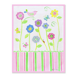 Stupell Industries - Pink Bird on Flower Rectangle Wall Plaque - Made in USA. MDF Fiberboard. Hand finished and packed. Approx. 15 in. W x 11 in. L. 0.5 in. ThickThe Kids Room by Stupell features exceptional handcrafted wall decor for children of all ages.  Using original art designed by in-house artists, all pieces feature hand painted and grooved borders as well as colorful grosgrain ribbon for hanging.  Made in the USA, everything found in The Kids Room by Stupell exudes extraordinary detail with crisp vibrant color. Whether you are looking for one piece to match an existing room's theme, or looking for a series to bring the kid's room to life, you will most definitely find what you are looking for in The Kids Room by Stupell.