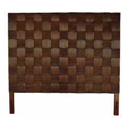 Jeffan International - King Size Basket Woven Abaca Headboard in Espresso - King size proportions are blended with handcrafted quality on this king size headboard. Boldly dimensioned headboard is made with natural rattan, highly regarded for its natural strength and beauty. Exclusive weave design adds strong lines to your casual surroundings. Made from natural rattan. Made in Indonesia. No assembly required. 77 in. W x 2 in. D x 72 in. H (86 lbs.)Made of natural rattan stained in a dark espresso finish. Handwoven in a modern square grid design. The metal bed frame can be attached to the base.