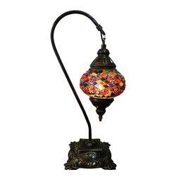 Jay Bazaar - Colorful Mosaic Lamp - Rainbow Swan - Authentic Desk Lamp , Moroccan Style Lamp , Night Lamp, Exotic Lamp