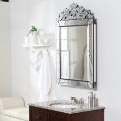 Single Door Radiance Surface Mount Traditional Medicine Cabinet - The mirrored frame makes this a fancy showstopper of a medicine cabinet.