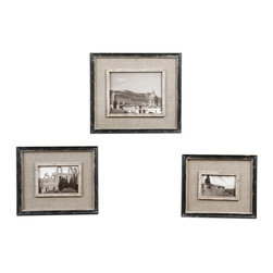 Uttermost - Kalidas Cloth-Lined Photo Frames, Set of 3 - All dressed up with places to show. With burlap matting, this trio of small-to-large distressed frames takes on a gently weathered look. Show off your travel black and whites or display your family's historical moments.