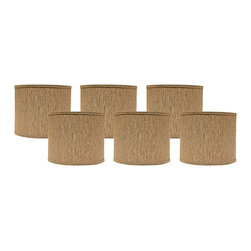 "Lamps Plus - Contemporary Set of 6 Raffia Linen Drum Lamp Shades 5x5x4.5 (Clip-On) - A set of six brown lamp shades topped with a chrome clip-on fitter. The soft brown color will perfectly complement any style decor. A chrome clip-on fitter completes the look. Drum lamp shades. Set of 6. Solid raffia brown design. Hardback lamp shade design. Chrome clip-on fitter. Cotton material. Unlined. Maximum 25 watt or equivalent bulb (not included). 1/2"" fitter drop. 5"" across the top and bottom. 4 1/2"" high. Made in USA.  Drum lamp shades.  Set of 6.  Solid raffia brown design.  Hardback lamp shade design.  Chrome clip-on fitter.  Cotton material.  Unlined.  Maximum 25 watt or equivalent bulb (not included).  Made in USA.  1/2"" fitter drop.  5"" across the top and bottom.  4 1/2"" high."