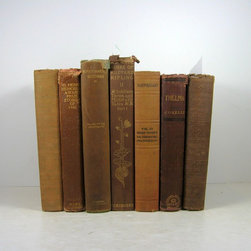 Home Decor Vintage Books - Shabby chic brown decorative books for cozy addition to: