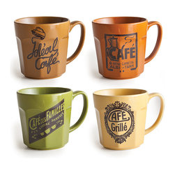 Frontgate - Set of Four Cafe Bella Mugs - Arrives packaged in a gift box. Made of sturdy stoneware. Microwave and dishwasher safe. Take a quick trip to the city of love with the charming Cafe Belle Mugs, which have been emblazoned with charming labels straight from turn-of-the-century Parisian cafes. Gorgeously glazed, these oversize mugs are perfect for delicious coffee, piping hot soup, delectable hot chocolate, even your morning oatmeal.  .  .  . Imported.