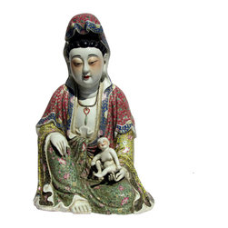 Golden Lotus - Chinese Fujian Style Multi Color Porcelain Kwan Yin with Kid Statue - This is a southern China ( Fujian - Canton )style procelain Kwan Yin Statue. The statue with kid has a cultural believe that bringing child to the family.