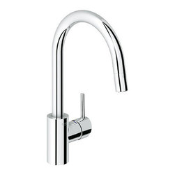 "Grohe - Grohe 32665001 Starlight Chrome Concetto New Sleek Pull-Down Spray - Grohe Conetto Pull-Down Spray Kitchen Faucet Single Handle Single Hole Product Features:  All-brass faucet body construction Grohe s limited lifetime warranty Non-metallic pulldown spray head enhances faucet s versatility Spring vs counterweight to help retract metal hose with little effort Locking push button control - to switch from regular flow to spray Spout swivels 360-degrees providing greater access to more areas of the sink High-arch gooseneck spout design provides optimal room under the faucet for any size task Grohe SpeedClean anti-lime system Grohe SilkMove ceramic disc cartridge Grohe Starlight chrome finish Stainless steel braided flexible supply lines  Product Specifications:  Overall Height: 15"" (measured from counter top to highest point on faucet) Spout Height: 8-5/8"" (measured from counter top to spout outlet) Spout Reach: 8-4/7"" (measured from center of faucet base to center of spout outlet) Flow Rate: 2.2 GPM (gallons-per-minute) Maximum Deck Thickness: 2-3/8"" Designed for use with standard U.S. plumbing connections  Product Technologies / Benefits:  Starlight Finish: Continuously improving over the last 70 years Grohe's unique plating process has been refined to produce and immaculate shiny surface that is recognized as one of the best surface finishes the world over. Grohe plates sub layers of copper and/or nickel to ensure that a completely non-porous, immaculate surface awaits the chrome layer. This deep, even layered chrome surface creates a luminous and mirror like sheen. Grohe finishes are life tested to withstand 60,000 ""wipes"" with an abrasive cloth."