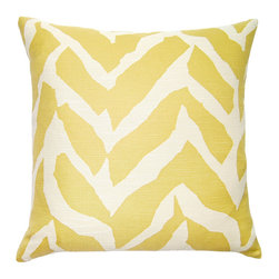 Square Feathers - Butter-Yellow Wild Print Pillow - Consider this a more free-form take on chevron, with strokes of color forming an organic zigzag. The print feels almost animal-like, while the soft color makes it more accessible.