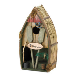 KOOLEKOO - Fishing Boat Birdhouse - Row, row, row your boat, gently on a tree! This charming birdhouse is geared up and ready for some angling. Birds will flock to move in, and it will add some lakefront appeal to your yard.