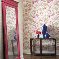 Vibe by Carey Lind - Sea Floral Wallpaper in Pink - Vibe by Carey Lind - York Wallcoverings