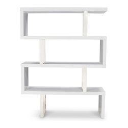 "Zuri Furniture - Lester High Gloss White and Silver Bookcase - Display your collectibles in style with the Lester bookcase! Its beautiful high gloss finish and metal accents will add that perfect amount of ""mod"" to your space. Available in white or black high gloss."