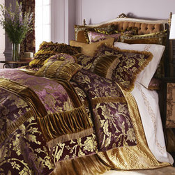 "Horchow - King Satin Quilt, 108"" x 95"" - Exclusively ours. A golden Florentine design on orchid panne velvet has the appearance of being hand painted. Iridescent ruffles, ""jeweled"" braid, and petit bullion trim enrich the look further. From Dian Austin Villa. Duvet covers have ruched velvet..."
