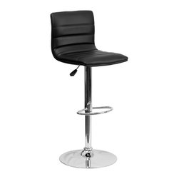 Flash Furniture - Flash Furniture Barstools Residential Barstools X-GG-KB-1-32029-HC - This modern bar stool is upholstered in a durable vinyl upholstery and adjusts from counter to bar height. This armless design is gracefully contoured for your comfort. The height adjustable swivel seat adjusts from counter to bar height with the handle located below the seat. The chrome footrest supports your feet while also providing a contemporary chic design. [CH-92023-1-BK-GG]