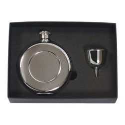 Franmara - Round Stainless Steel Pocket Flask and Funnel Gift Set - This gorgeous 4.5 Oz. Round Stainless Steel Pocket Flask and Funnel Gift Set has the finest details and highest quality you will find anywhere! 4.5 Oz. Round Stainless Steel Pocket Flask and Funnel Gift Set is truly remarkable.