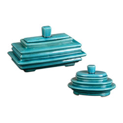 """Uttermost - Uttermost Indra Bright Blue Boxes Set of 2 19836 - Ceramic boxes featuring a """"layered look"""" finished in crackled, bright blue ceramic with removable lids. Small size: 10""""W x 7""""H x 7""""D, Large size: 13""""W x 7""""H x 8""""D."""