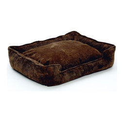 """Jax and Bones - Corduroy Lounge Dog Bed in Chocolate Cord - Features: -Dog bed. -Corduroy fabric made from a washable blend of cotton and polyester. -Clean and contemporary complement to any room. -Sustainafill allergy-free eco-friendly fiber filling. -Hides shedding hair. -Gets softer and better over time. -Removable and machine washable cover. -Proudly made in the USA. -Chocolate cord fabric. -Available in four sizes. Specifications: -Small dimensions: 7"""" H x 18"""" W x 24"""" D. -Medium dimensions: 10"""" H x 27"""" W x 32"""" D. -Medium / large dimensions: 10"""" H x 32"""" W x 39"""" D. -Large dimensions: 12"""" H x 40"""" W x 48"""" D."""