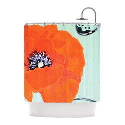 "Kess InHouse - Christen Treat ""Vintage Poppy"" Orange Flower Shower Curtain - Finally waterproof artwork for the bathroom, otherwise known as our limited edition Kess InHouse shower curtain. This shower curtain is so artistic and inventive, you'd better get used to dropping the soap. We're so lucky to have so many wonderful artists that you'll probably want to order more than one and switch them every season. You're sure to impress your guests with your bathroom gallery in addition to your loveable shower singing."