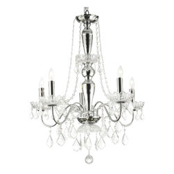 The Gallery - Elegant 5-Light Crystal Chandelier Pendant Lighting Fixture Light Lamp - A Great European Tradition. Nothing is quite as elegant as the fine crystal chandeliers that gave sparkle to brilliant evenings at palaces and manor houses across Europe. This unique version from the Royal Collection features the 100% crystal that capture and reflect the light of the candle bulbs, each resting in a scalloped bob ache. The timeless elegance of this chandelier is sure to lend a special atmosphere in every home!