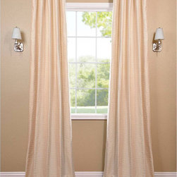 EFF - Pearl White Hand-Woven Cotton-blend Curtain Panel - This hand-woven curtain panel highlights a pearl white color option that adds a casual and warm look to any window setting. This drape is tailored from the finest hand-loomed cotton blend and includes a weighted corner hem and flannel interlining.