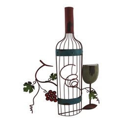 Il Vino d`Italia Wall Mount Wine Rack - Drawing inspiration from European vineyards, our wall-mounted single bottle wine rack adds a rustic old world touch to any room. Made from iron, our wine rack measures 24 inches tall and over 17 inches wide making it a great way to display a nice bottle of wine. It`ll have you exclaiming, che bella la vita!