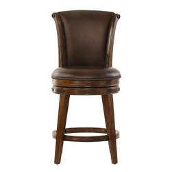 Home Decorators Collection - Nicholas Swivel Counter Stool - Our Nicholas Swivel Counter Stool offers classic design details like a sleigh silhouette, leather-look upholstery and nailhead trim. Criss-cross stitching on the back of the seat adds visual interest. Constructed of hardwood with veneer in a brown cherry finish. Seat upholstered in leather-look microfiber in a rich saddle brown. Nailhead trim.