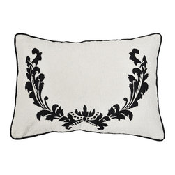 Cottage Home - Dalilah Bolster Decorative Pillows - This beautifully constructed embroidery pillow can be placed in any living area and bed room for maximum comfort and style. Quilted pillow features a beautiful floral design and reverses to a solid white colored back side.