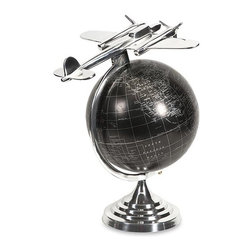 iMax - Hadwin Airplane Globe - Made of high quality aluminum, the large Hadwin airplane globe is made from a superior casting to create this unique traveler's pick. Add to any living or desk area for an accent that is sure to please.