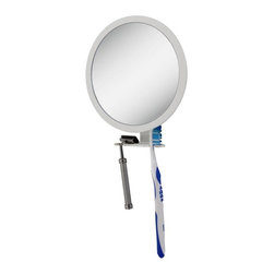 Zadro Products - Zadro Z'Fogless Adjustable Fog-Free Ultra Shower Mirror - Z500 - Shop for Makeup and Vanity Mirrors from Hayneedle.com! Nothing's worse than getting to work and realizing you only shaved half of your moustache area but that very special kind of shame can be someone else's problem when your shower has the Zadro Z'Fogless Adjustable Fog-Free Ultra Shower Mirror. This simple accessory lets you see fog-free from the first lathering to the last scrub of the loofah and it even includes room to hold a razor toothbrush or other showering accessories. Secure suction cups give you the ability to mount this mirror anywhere and a rotating design lets you choose between 1X and 5X maginification.About Zadro ProductsZadro Products has been a leading innovator in bath accessories mirrors cosmetic accessories and health products for over 25 years. Among the company's innovations are the first fogless mirror first variable magnification mirror first surround light mirror and more. Not a company to rest on its laurels Zadro continues to adapt to the ever-changing needs of modern life.
